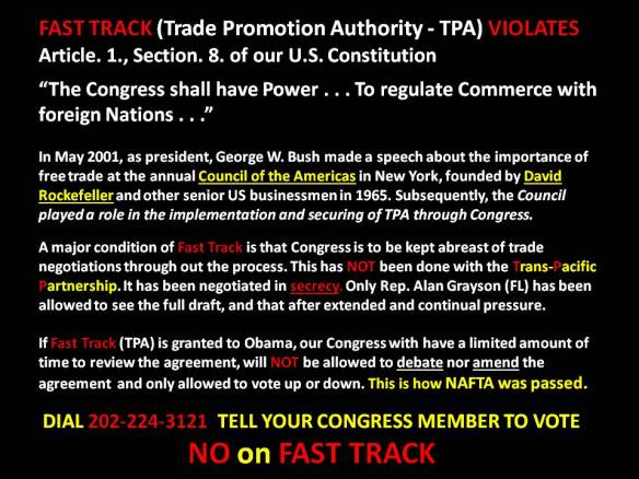 TPP - No On Fast Track